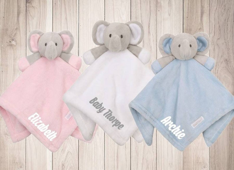 Personalised Baby Elephant Comforter Blanket Pink Blue Boy Girl Newborn Gift