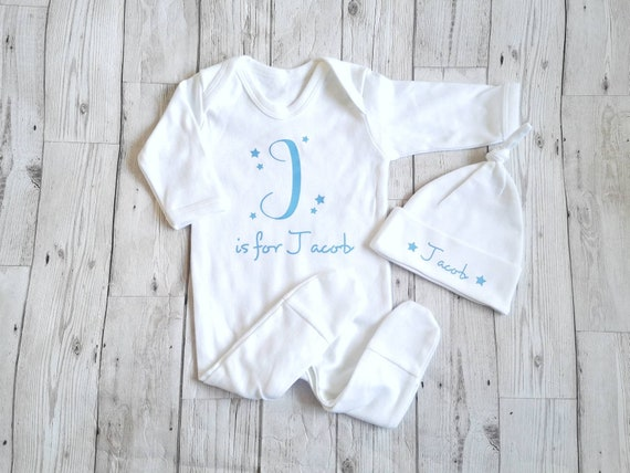 Personalised Initials Baby Suit Stripy Babygrow Bodysuit Baby Clothes Blue Boy