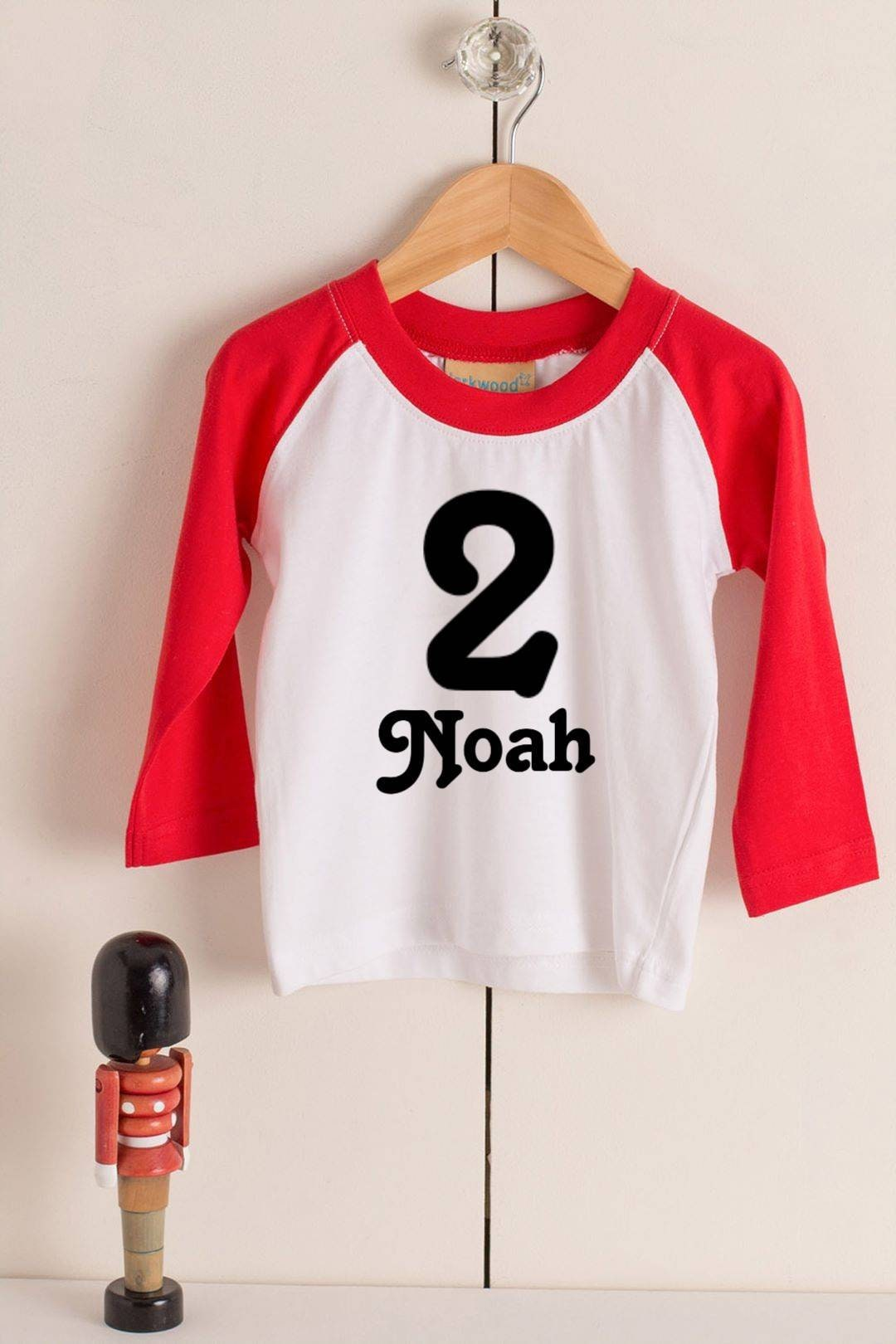 Boys Personalised Second Birthday T Shirt Long Sleeved Navy Red White Number Name Baseball Style 2nd Gift Cotton Cake Smash Photo Shoot