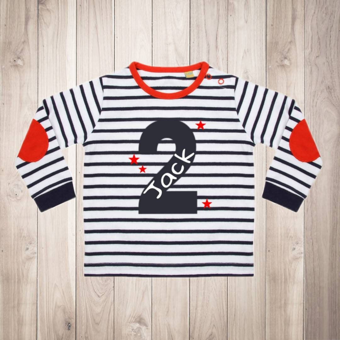 Personalised Second Birthday T Shirt Contrast Stripe Long Sleeve Top Two 2 Today Name Boys Navy Unique Gift Number Text Colour Choice