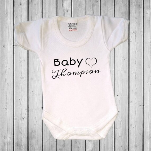 Grow Bodysuit Baby Surename Funny Personalised Kids Child Baby Vest