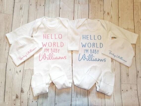 PERSONALISED BABY FEET CLOTHING BABYGROW SHOWER ANY NAME DATE UNISEX BOY GIRL V2