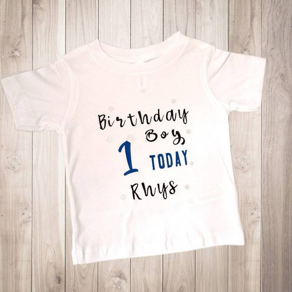 BABY BOY FIRST BIRTHDAY VEST ONE HEART TODAY BODYSUIT GIFT NAME PERSONALISED 1ST