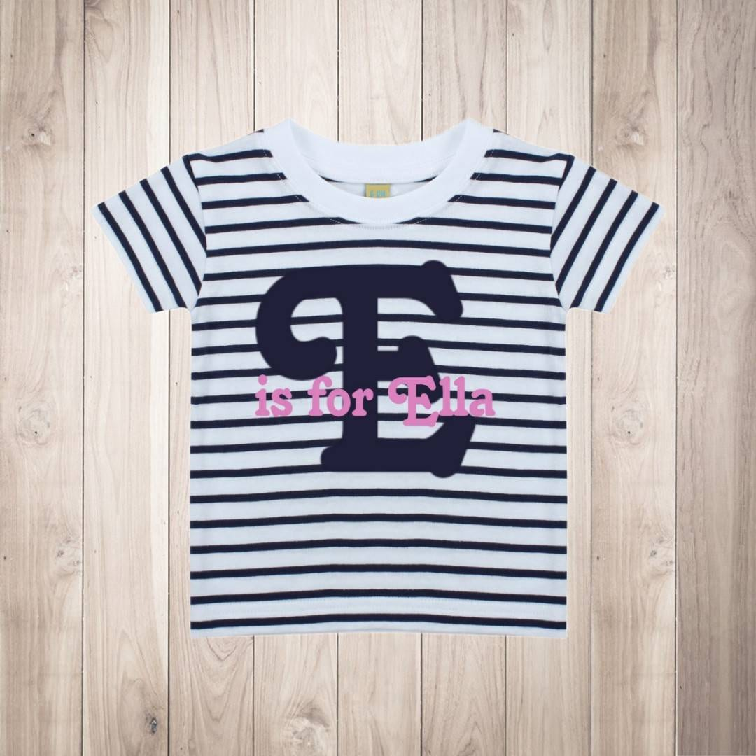 a47dbd83 Personalised Initial Name T Shirt Girls Top Striped Pink Birthday Gift  Cotton Letter Is For Baby Toddler Kids Tee Short Sleeve White Navy