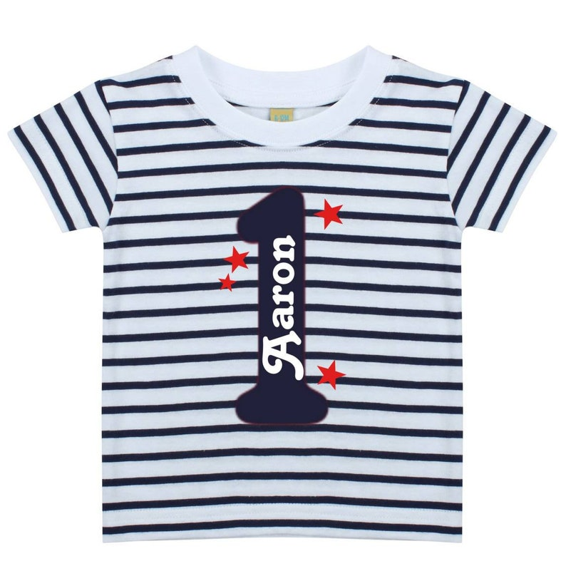 8b3ca5e443ffe Personalised First Birthday T Shirt | Stripe Short Sleeve Top | One Today  1st Name | Boys Blue | Unique Gift | Number Text Colour Choice