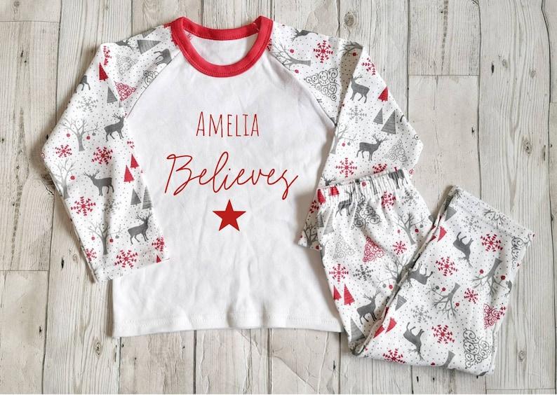 Boys Girls Unisex Reindeer Snowflake Xmas Tree Christmas Pyjamas 2 to 14 Years