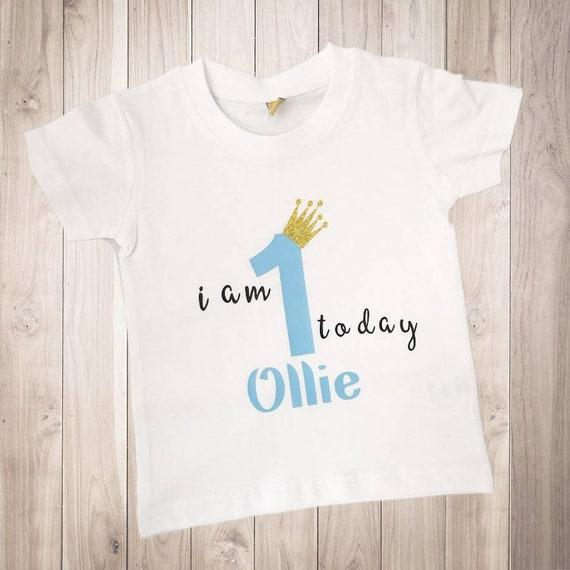 9c4d2ab5d2d67 Personalised 1st First Birthday T Shirt | Top I am One Today | Name or  Nickname | Boys Blue | Unique Gift | Glitter Crown Colour Choice