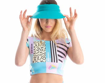 90's Block Lycra Matching Set Crop Top -Onesie-Twopiece-Festival-Activewear-Bodysuit