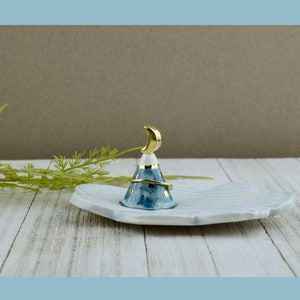 Ceramic Handmade Ring Dish Pottery Stud Holder Tea Bag Rest Blue Moon Dish Jewelry Dish Gifts for Moon Lovers Crescent Moon Decor
