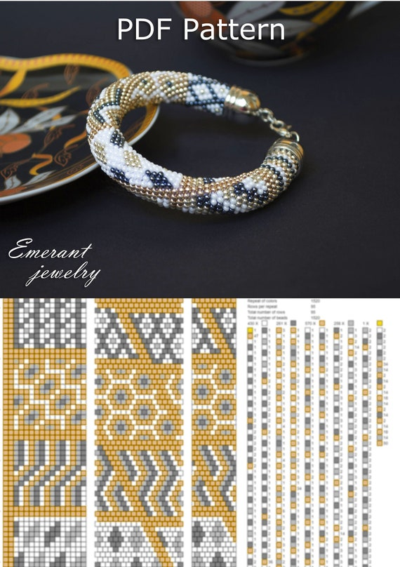 Bead Crochet Pattern Seed Bead Bracelet Tutorial Pdf Beading Etsy