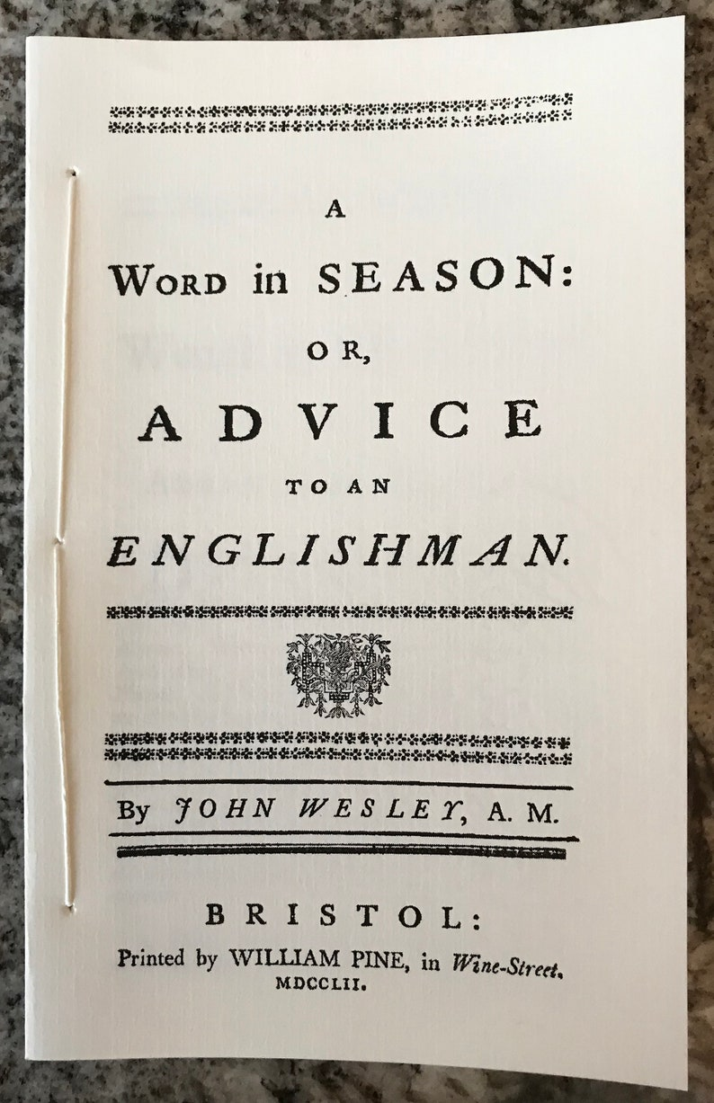 The Rev. John Wesley pamphlet/sermon A Word in Season or image 0