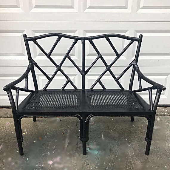 Surprising Chinese Chippendale Vintage Rattan Loveseat Bench With Cane Seating Andrewgaddart Wooden Chair Designs For Living Room Andrewgaddartcom