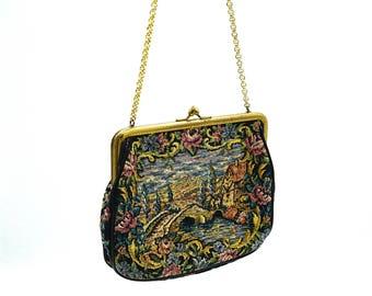 Vintage evening bag, tapestry bag, embroidered purse, clutch bag, tapestryl clutch bag, evening purse, evening bag, vintage evening bag,