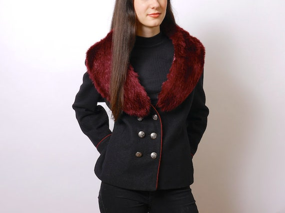 Vintage wool jacket, faux fur collar jacket, fitte