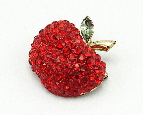 Vintage apple brooch,  vintage brooch, red apple b