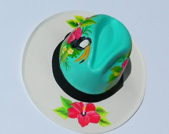 WOMENS HATS, paint hats, tropical hats, flores hats, animal hats, handmade hats, handcrafted had