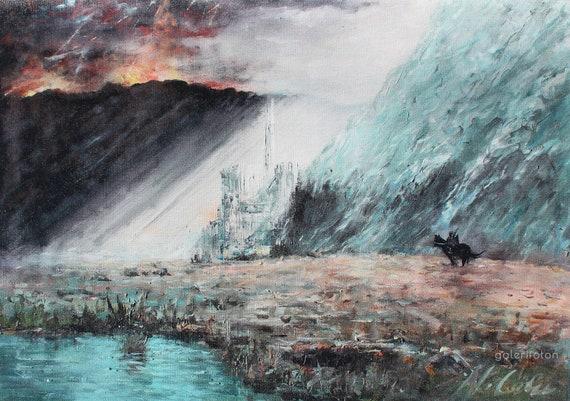 Herr der Ringe Leinwand, Herr der Ringe Wand Kunst, Gondor Druck, Tolkien Kunst, Mittelerde Leinwanddruck von Naci Caba