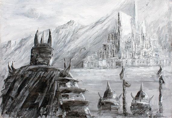 Kampf hat Felder, Herr der Ringe Leinwand, Herr der Ringe Herr der Ringe Poster Kunstdruck Gondor Druck, Mittelerde Fan Kunst