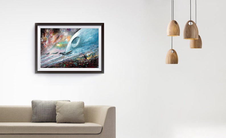 The Death Star /& X-Wing Fighters Art Print on Canvas