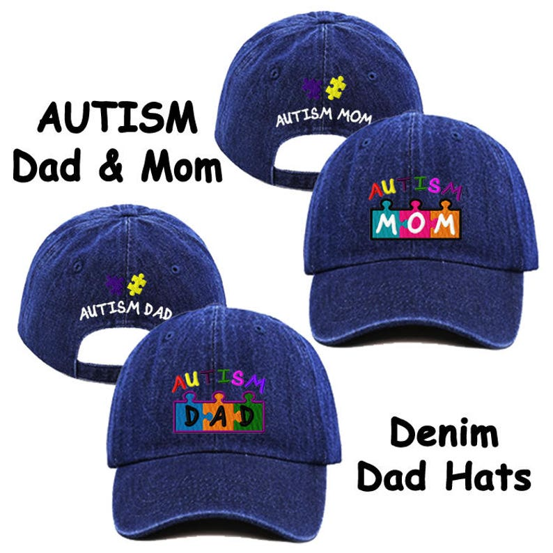 Autism Dad   Mom Embroidered Blue Jean Baseball Cap Hat  1e851e5e26d