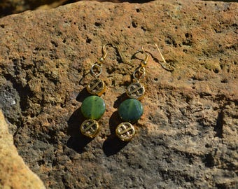Jade with gold earrings