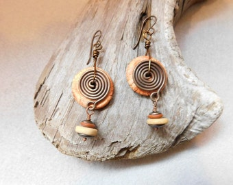 Rustic AtHomeInTaos beads with copper accent earrings