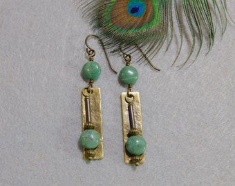 Rustic dangle earrings green serpentine and brass
