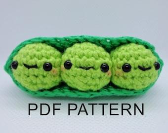 Amigurumi Pea Pod Pattern   Crochet Pea Pattern   Peas In A Pod Pattern   Crochet Toy Pattern   Cute crochet gift  