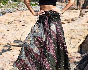 Women Dress Boho Beach skirt Wrap skirt African Thailand Summer Skirt Mandala Bohemian Hippie Festival Clothing Coconut Buckle