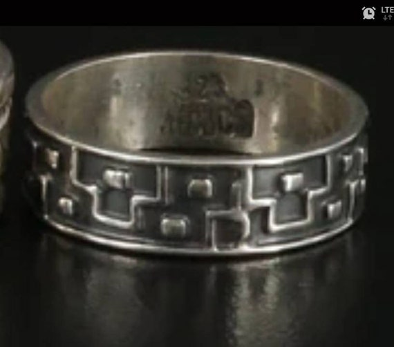 Mexican Geometric Niello Vintage Sterling Silver R