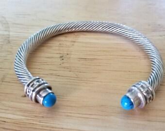 SALE,Sterling silver bracelet, Sterling Silver cuff,sterling bracelet turquoise,heavy sterling bracelet,vintage sterling silver bracelet