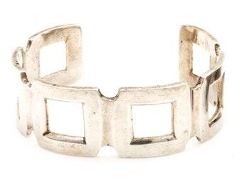 SALE,Sterling silver bracelet,Sterling silver cuff, sterling cuff, vintage,mexican sterling silver,modernist, graduation,geometric, heavy