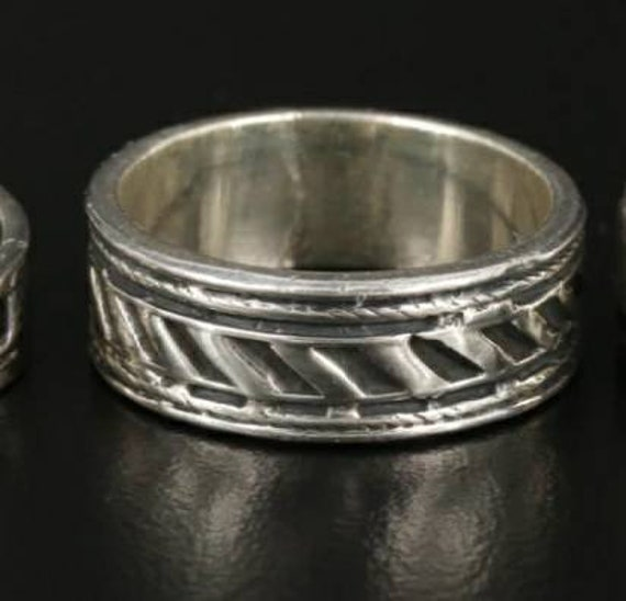 Handmade Mexican Sterling Silver Band Ring Geometr
