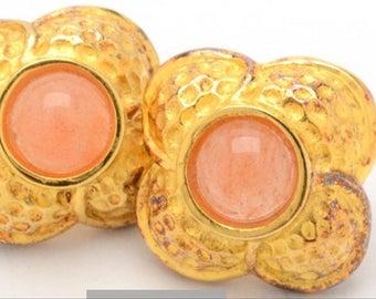 Sale!!Sterling silver earrings,Elizabeth enrico,quartz,gold washed sterling silver earrings,Sterling silver posts,gold earrings,quartz