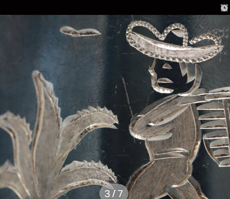 Mexican Storybook  Vintage Sterling Silver Niello Enamel Bracelet