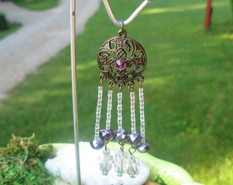 Miniature Clear and Purple Glass Bead Wind Chime / Doll House / Fairy Garden Accessories With Shepherd Hook