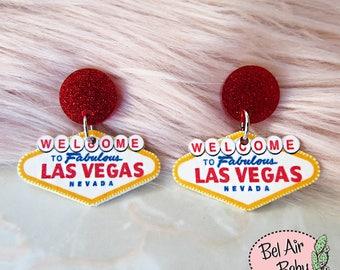 Rockabilly Pin-up Pink Rhinestone Cherry Necklace Ball Chain Las Vegas casino