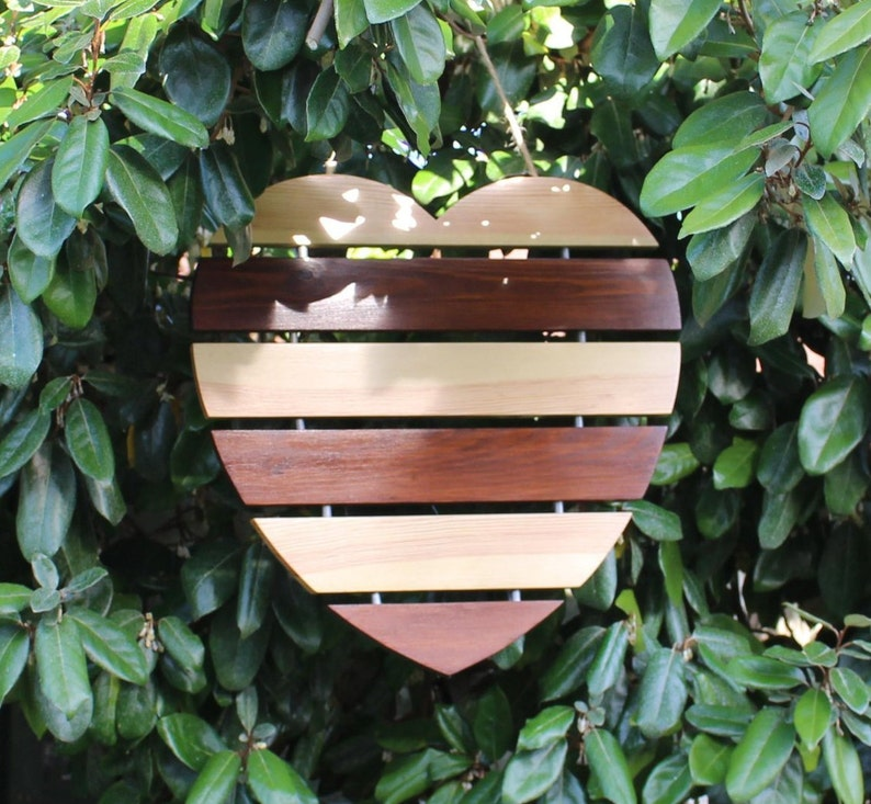 Large Wooden Hanging Heart Decoration Christmas Gift Ideas Love Heart Handmade Gifts For Her Handcrafted Wooden Heart Wall Decor