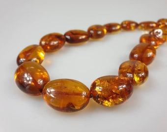 Baltic Amber necklace Viking style dark big amber necklace semicircular amber large amber beads 65g2.3oz
