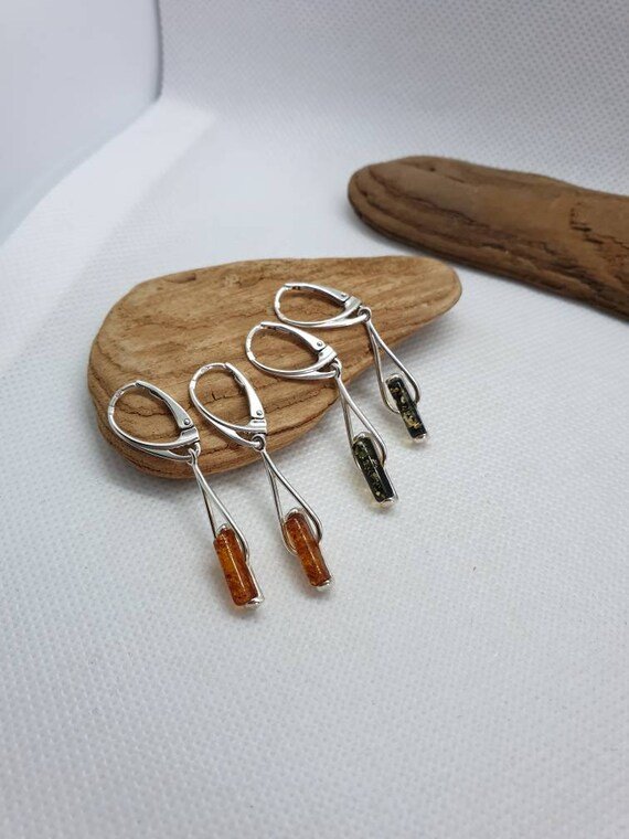 Amber and Silver earrings. Sterling silver 925. Green Amber earrings. Honey Amber earrings.