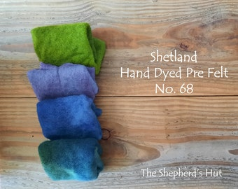Shetland Pre Felt Hand dyed. Selection Pack. No. 68. Four pieces approx. 23cm x 23 cm. For needle felting.
