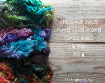 BFL Grab Bags 50g mixed hand dyed fleece wool and top for spinning and fibre craft. Various colours available.