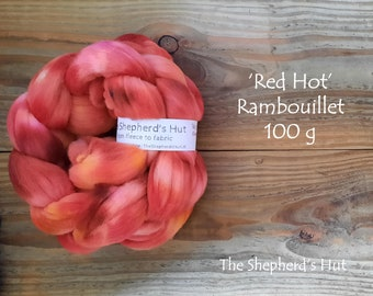 Rambouillet hand dyed braid 'Red Hot' 100 g  3.5 oz
