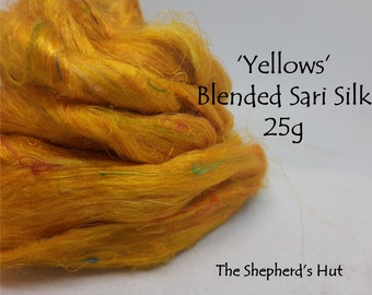 Blended Sari Silk.'Yellow' recycled Indian sari silk threads for art spinning, paper making, mixed media and felting.