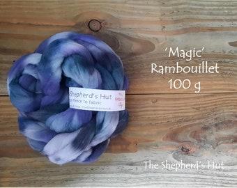 Rambouillet hand dyed braid 'Magic' 100 g  3.5 oz