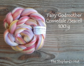 Corriedale Seacell 'Fairy Godmother' Blended Top 100 g braid for spinning and felting.