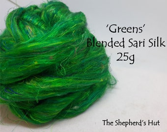 Blended Sari Silk.'Green' recycled Indian sari silk threads for art spinning, paper making, mixed media and felting.