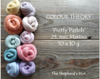 COLOUR THEORY 'Pretty Pastels' 23 mic. Merino 10 x 10 g multi pack for felting and spinning