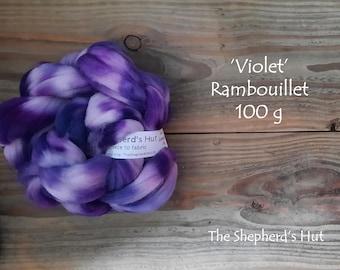 Rambouillet hand dyed braid 'Violet' 100 g  3.5 oz