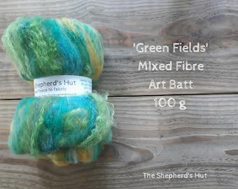 Mixed fibre Art Batt 'Green Fields' 100 g  3.5 oz